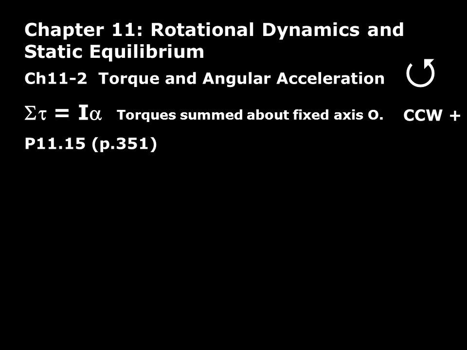 Ch11-2 Torque and Angular Acceleration  = I Torques summed about fixed axis O.