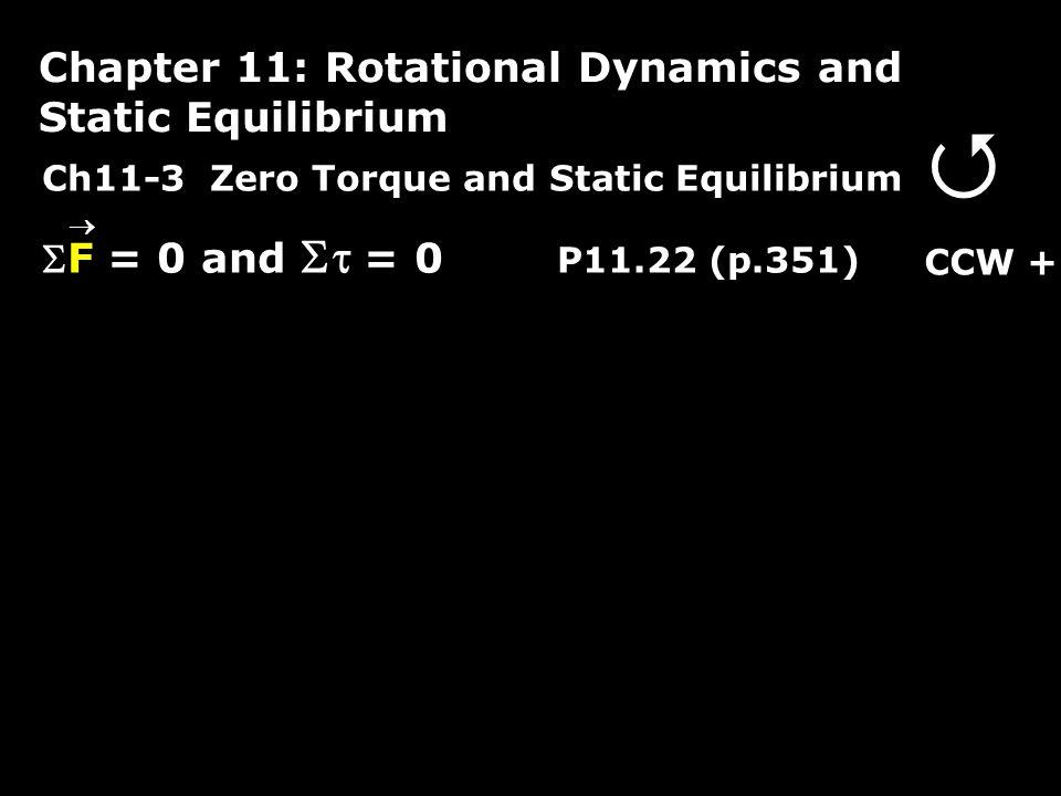 Ch11-3 Zero Torque and Static Equilibrium F = 0 and  = 0 P11.22 (p.351) Chapter 11: Rotational Dynamics and Static Equilibrium  CCW + 