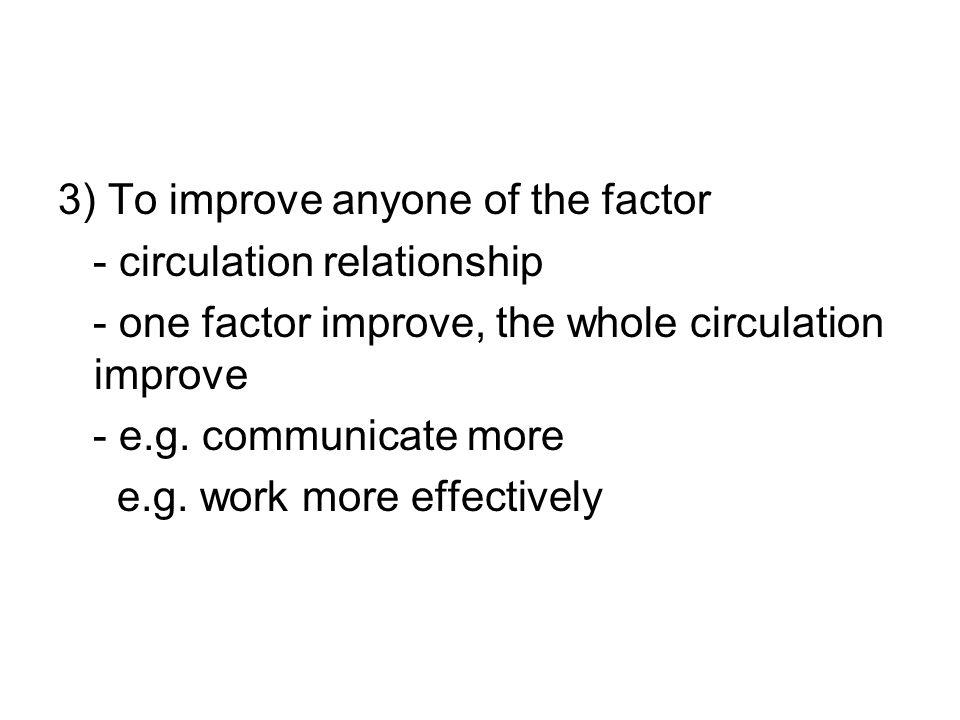 3) To improve anyone of the factor - circulation relationship - one factor improve, the whole circulation improve - e.g.