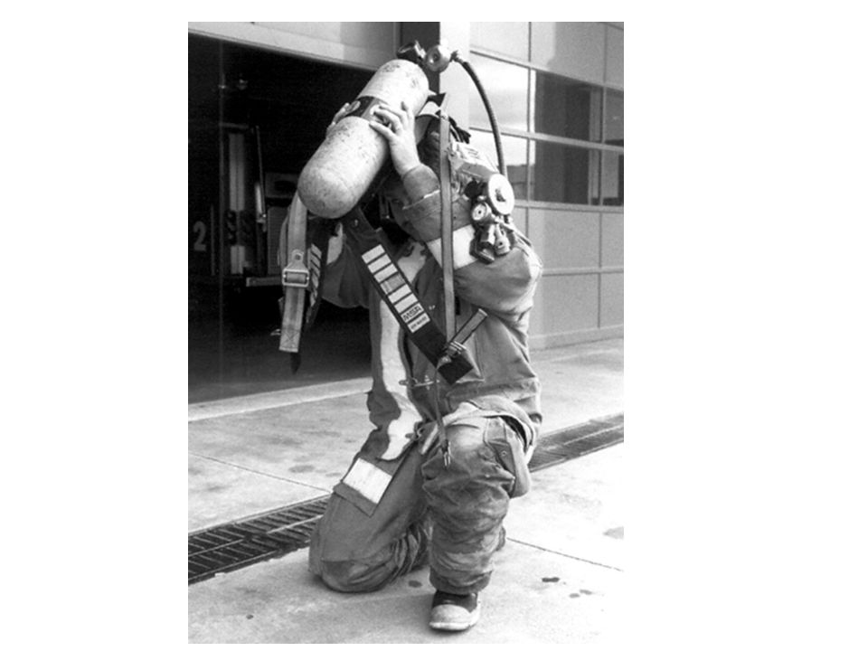 DONNING AND DOFFING SCBA  Continue leaning forward and tighten the shoulder straps by pulling them outward and downward.