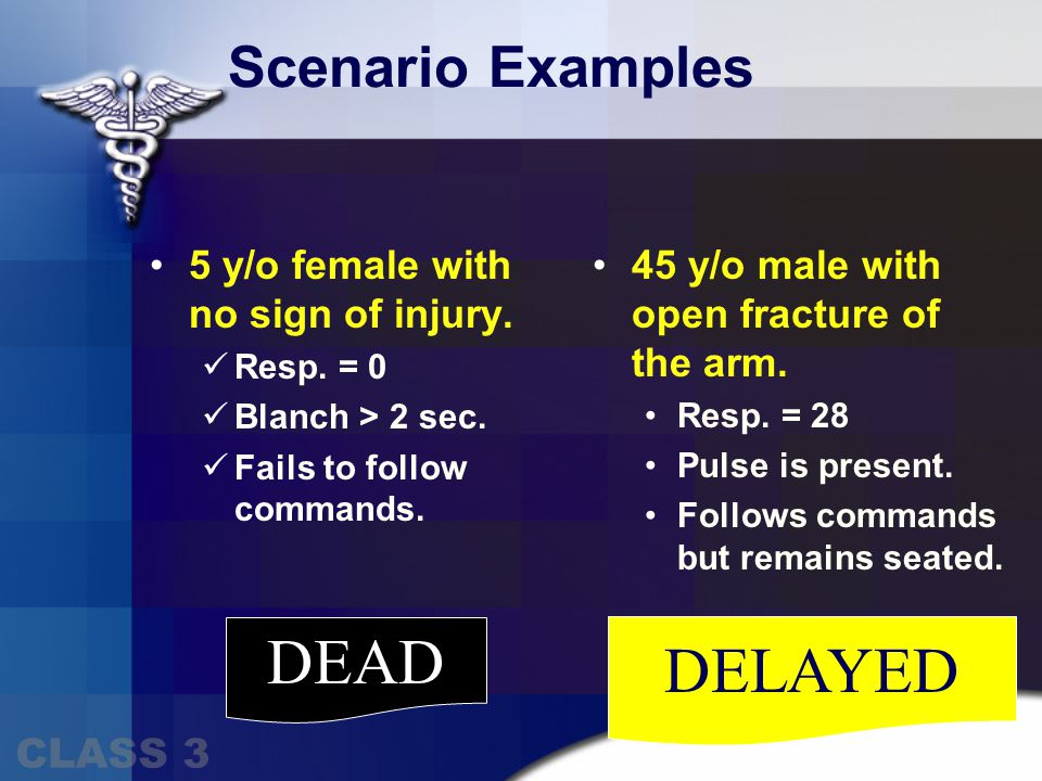 MINOR DELAYED Scenario Examples 35 y/o female with large laceration on forehead.