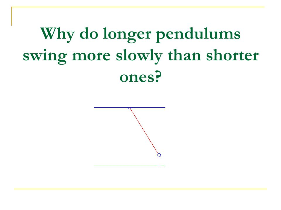 Why do longer pendulums swing more slowly than shorter ones