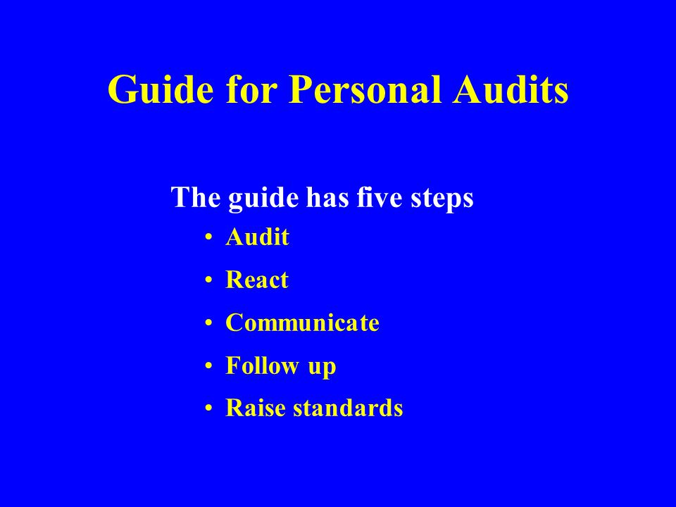 Performing Safety Audits