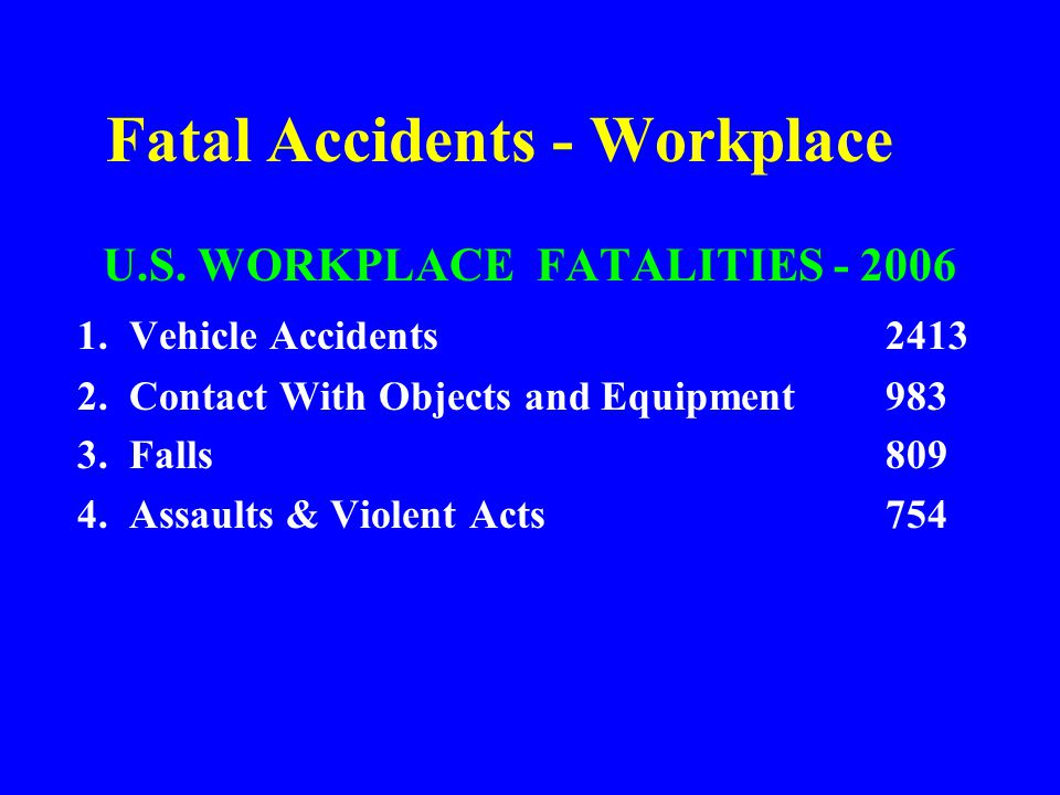 Types of Accidents (continued) STRUCK –Against stationary or moving object protruding object sharp or jagged edge –By moving or flying object falling object RUBBED OR ABRADED BY –friction –pressure –vibration