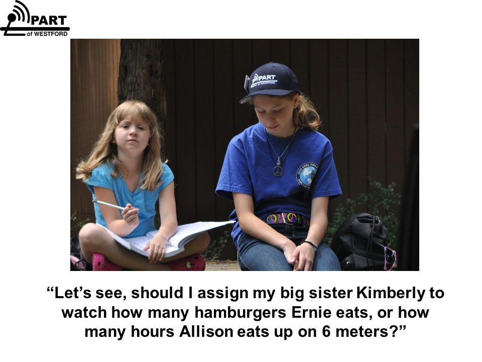 Let's see, should I assign my big sister Kimberly to watch how many hamburgers Ernie eats, or how many hours Allison eats up on 6 meters?