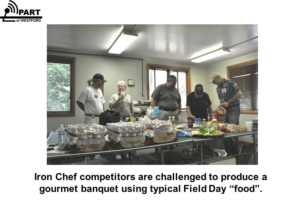 Iron Chef competitors are challenged to produce a gourmet banquet using typical Field Day food .