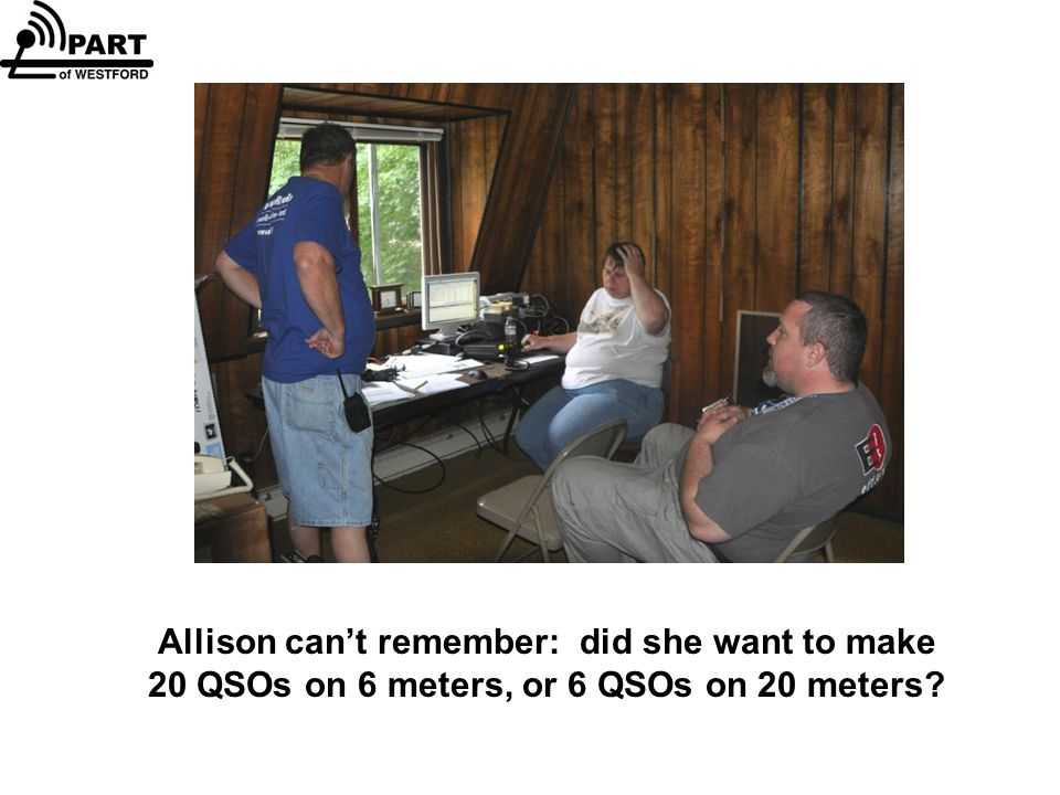 Allison can't remember: did she want to make 20 QSOs on 6 meters, or 6 QSOs on 20 meters?