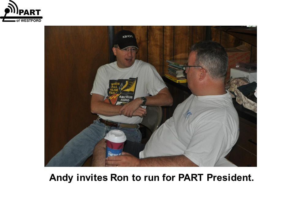 Andy invites Ron to run for PART President.