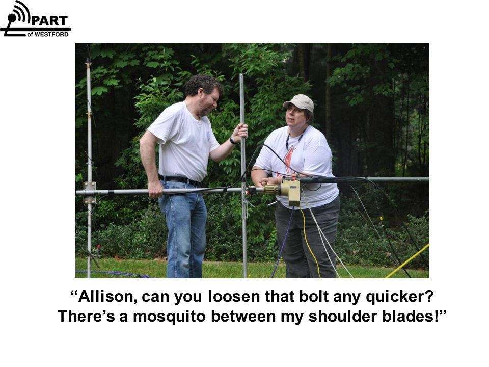 Allison, can you loosen that bolt any quicker? There's a mosquito between my shoulder blades!