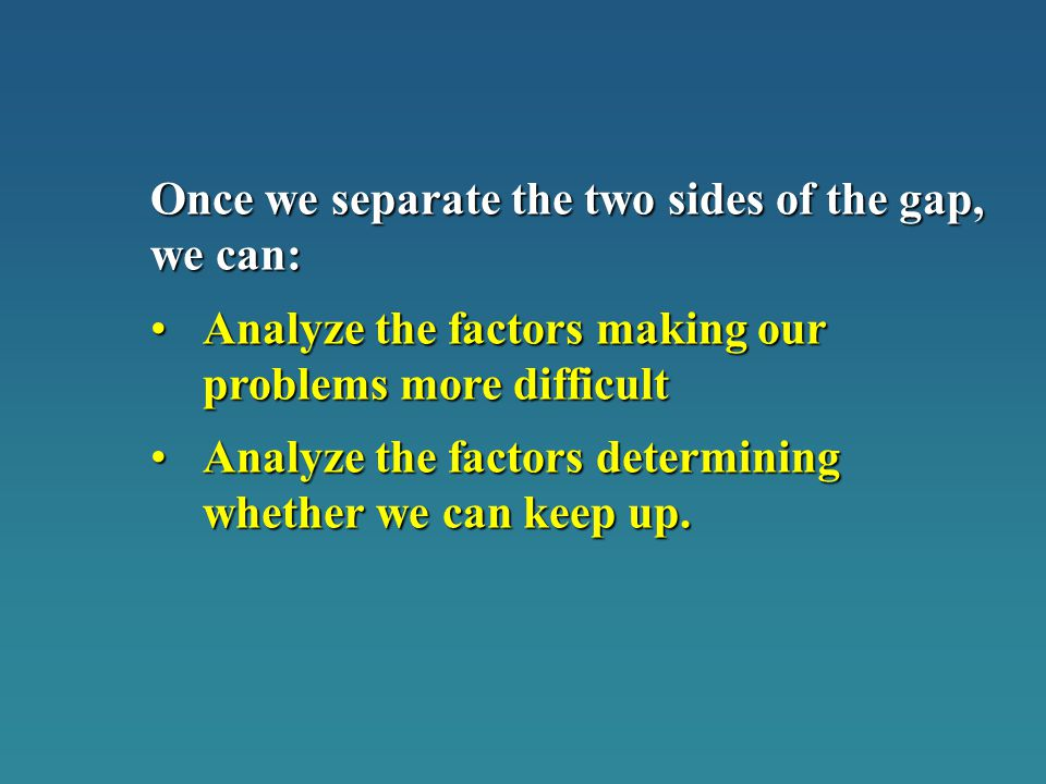Once we separate the two sides of the gap, we can: Analyze the factors making our problems more difficultAnalyze the factors making our problems more difficult Analyze the factors determining whether we can keep up.Analyze the factors determining whether we can keep up.