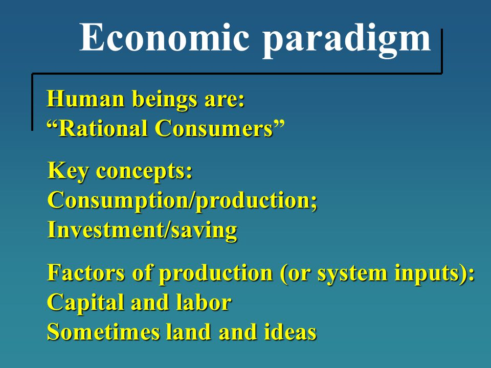 Economic paradigm Human beings are: Rational Consumers Rational Consumers Key concepts: Consumption/production;Investment/saving Factors of production (or system inputs): Capital and labor Sometimes land and ideas