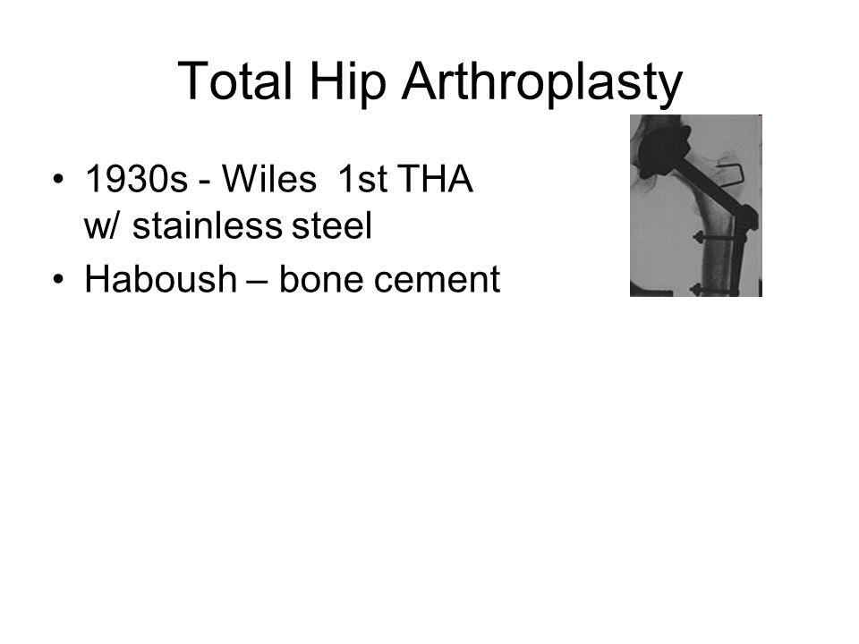 Total Hip Arthroplasty 1930s - Wiles 1st THA w/ stainless steel Haboush – bone cement