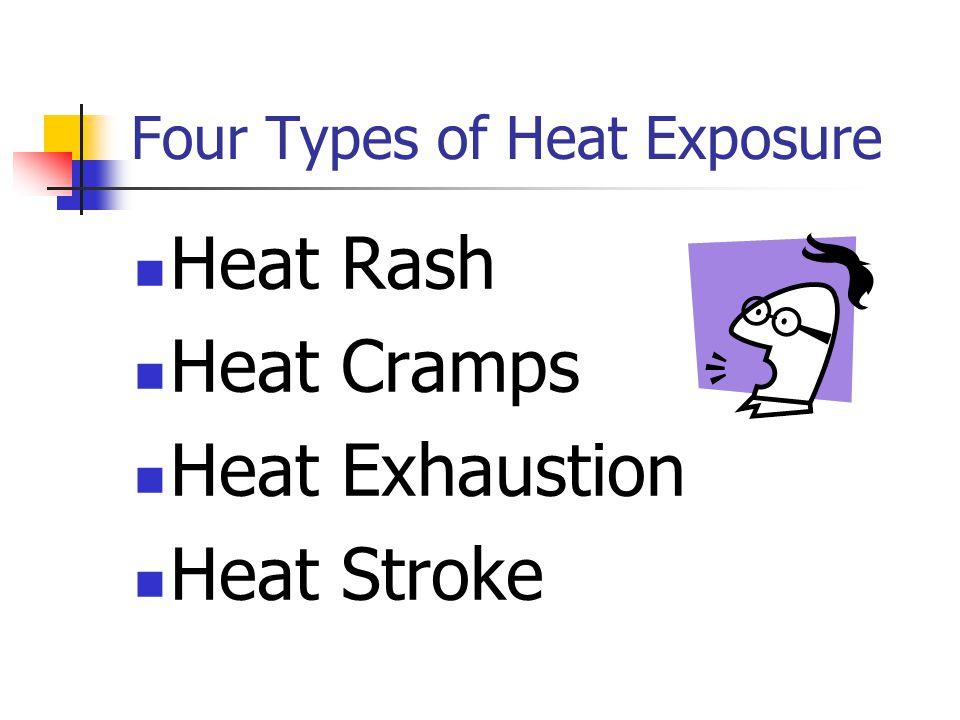 Four Types of Heat Exposure Heat Rash Heat Cramps Heat Exhaustion Heat Stroke