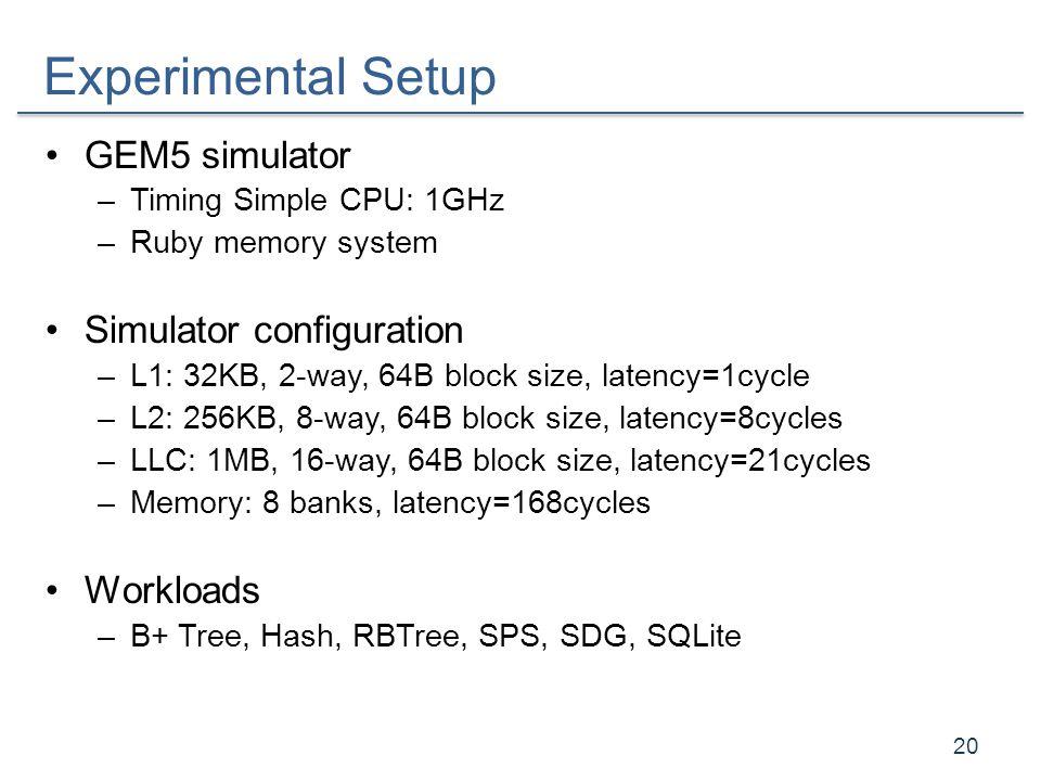 Experimental Setup GEM5 simulator –Timing Simple CPU: 1GHz –Ruby memory system Simulator configuration –L1: 32KB, 2-way, 64B block size, latency=1cycl
