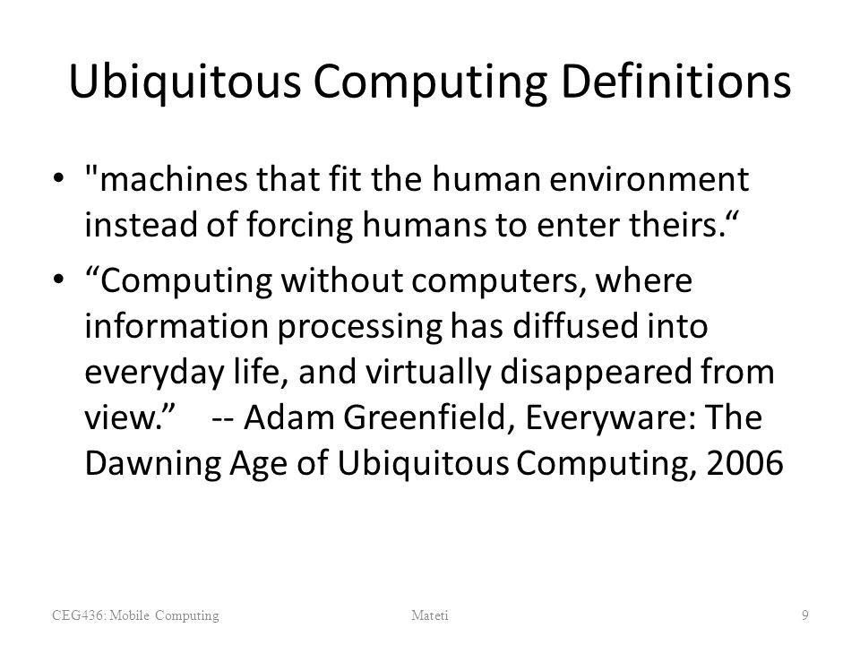Ubiquitous Computing Definitions