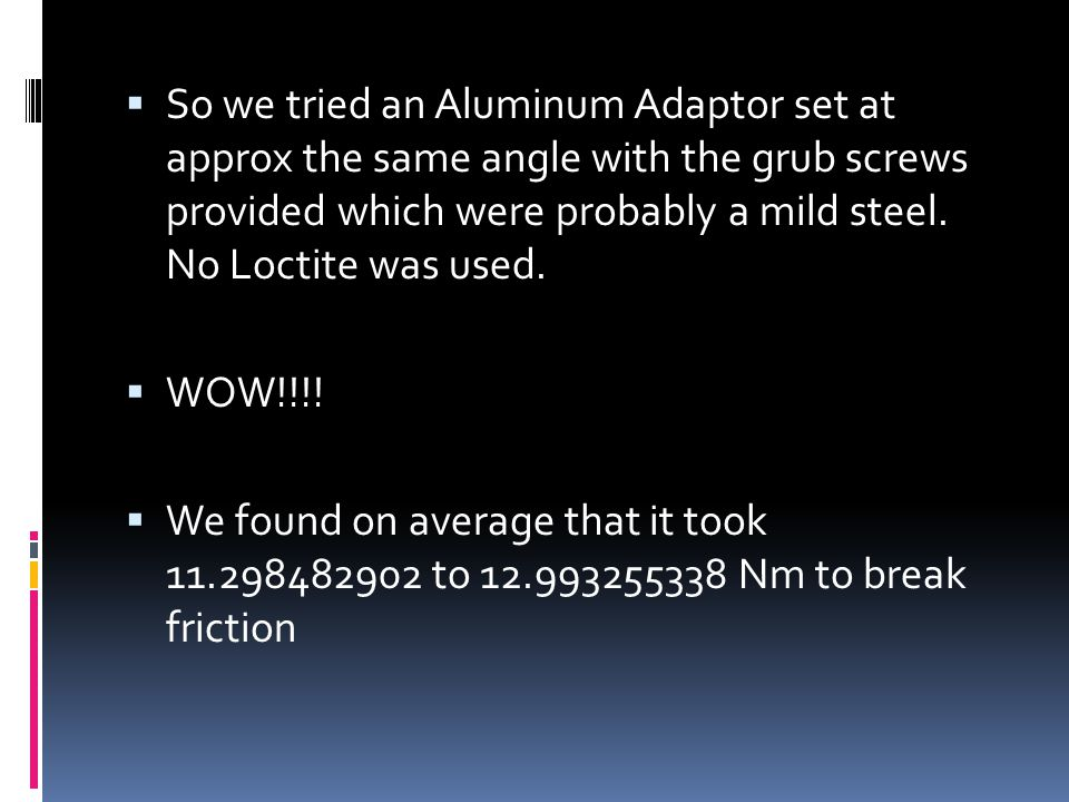  Next we decided to try a different type of adaptor.  Maybe the material selection has an affect on the value?