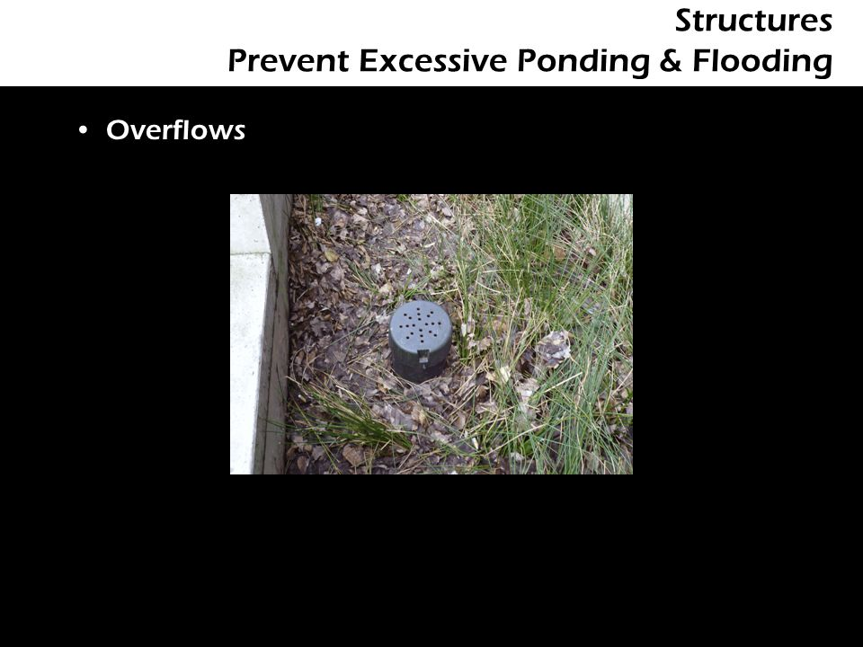 Structures Prevent Excessive Ponding & Flooding Overflows