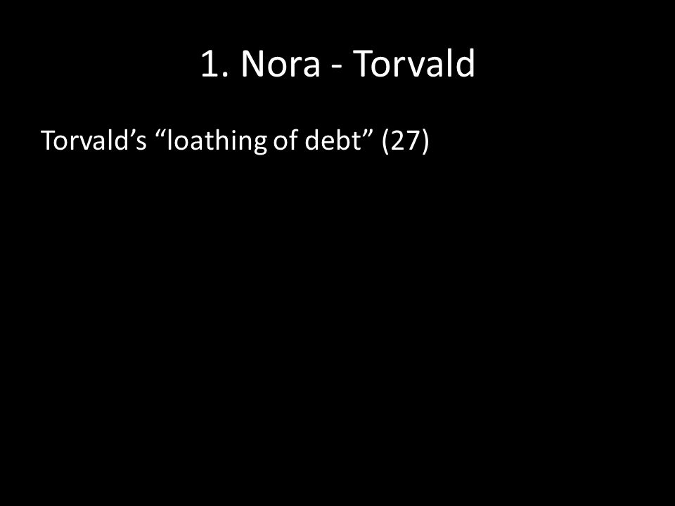 1. Nora - Torvald Torvald's loathing of debt (27)