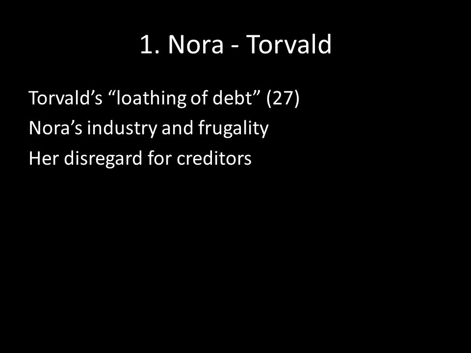 """1. Nora - Torvald Torvald's """"loathing of debt"""" (27) Nora's industry and frugality Her disregard for creditors"""