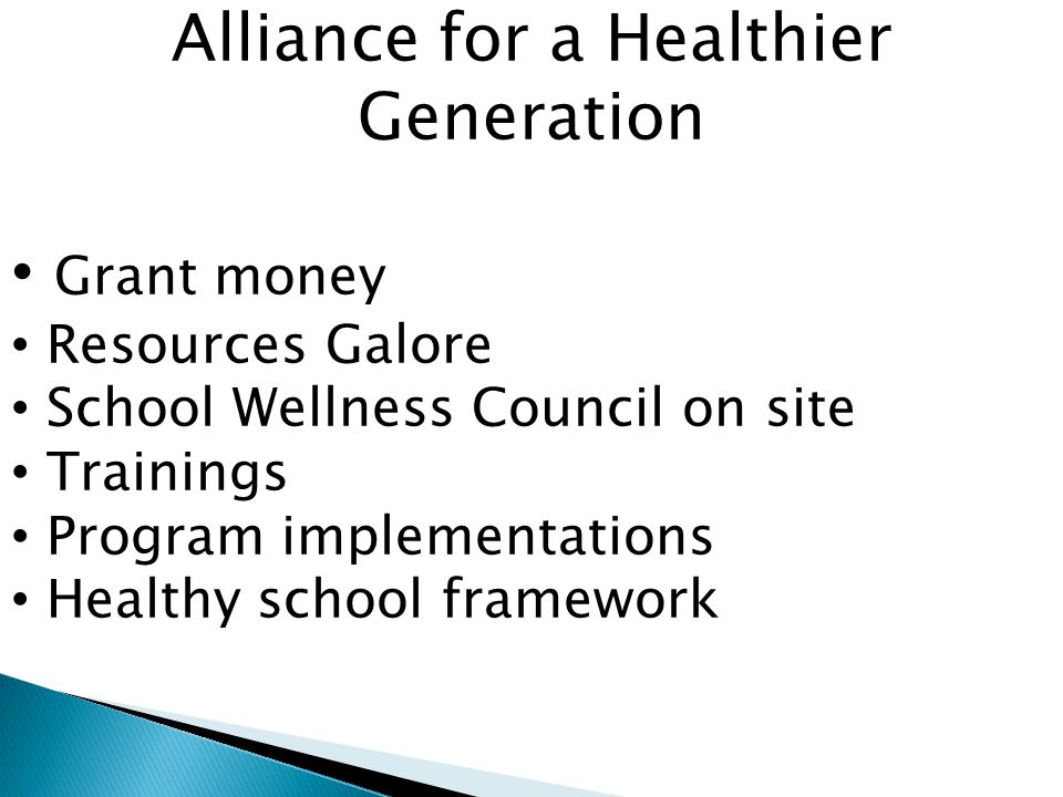 Alliance for a Healthier Generation Grant money Resources Galore School Wellness Council on site Trainings Program implementations Healthy school framework