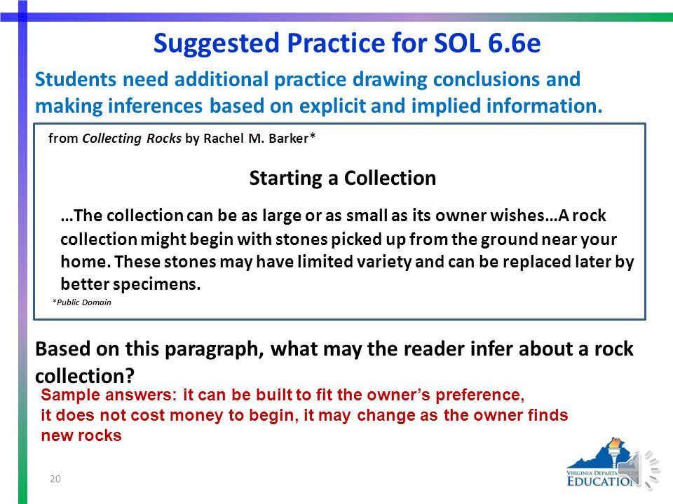 More Suggested Practice for 6.6a Students need additional practice using text structures to categorize information and aid in comprehension.