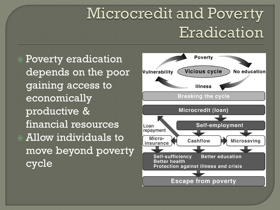  Private sector Beneficial to poor and small entrepreneurs Increase productivity Increase wages Decreased informal lending  Rural/Urban Rural  Larger transaction costs to provide financial services  Better targets than urban  Larger potential benefit Urban  Lower poverty rates compared to rural  Target the peri-urban more  More entrepreneurs  Higher demand for financial services