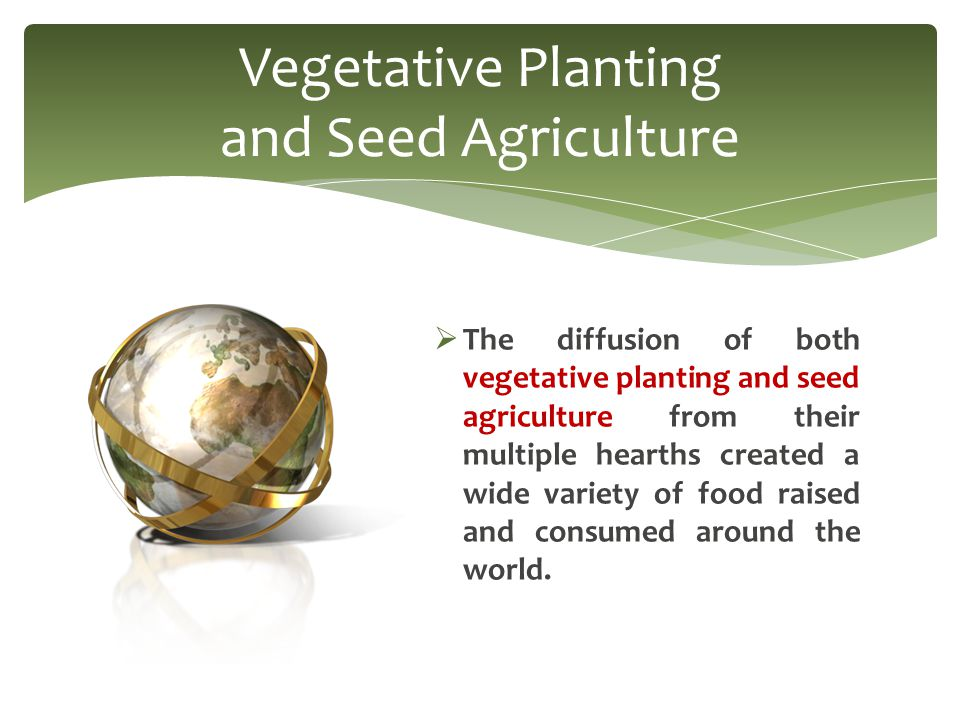  The diffusion of both vegetative planting and seed agriculture from their multiple hearths created a wide variety of food raised and consumed around the world.