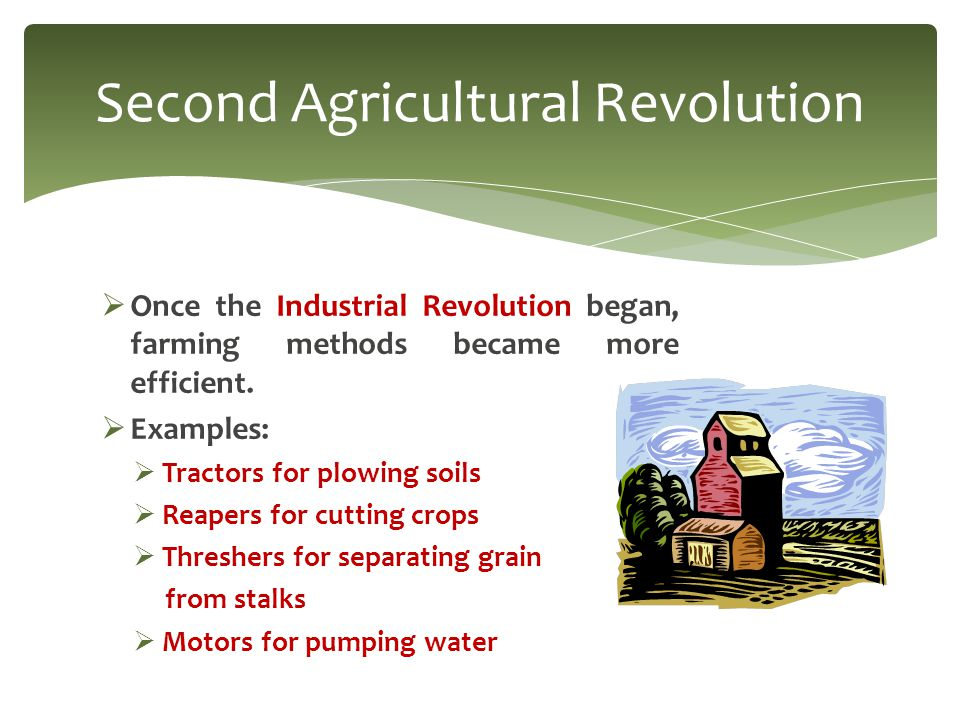  Once the Industrial Revolution began, farming methods became more efficient.