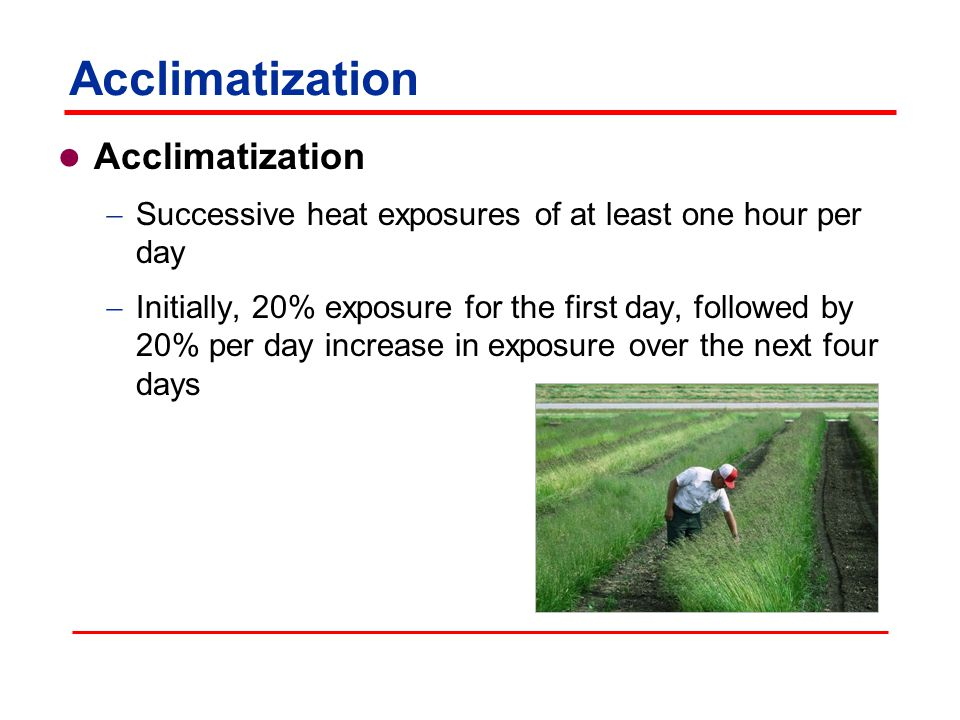 Acclimatization  Successive heat exposures of at least one hour per day  Initially, 20% exposure for the first day, followed by 20% per day increase in exposure over the next four days