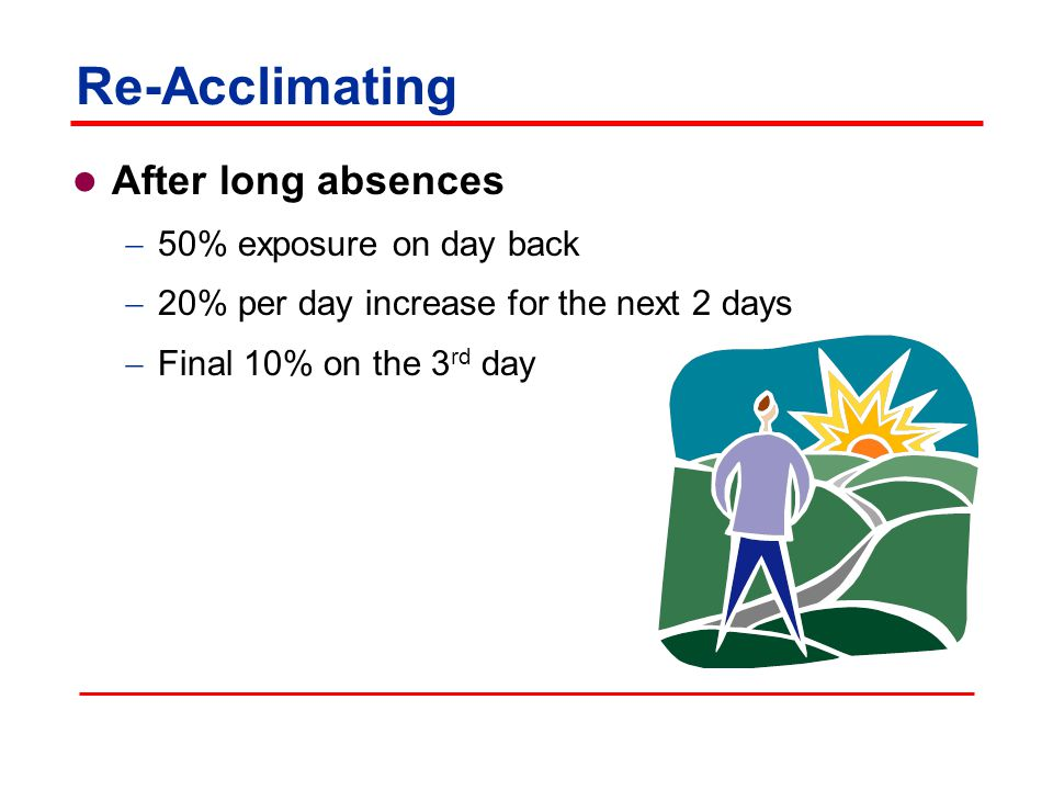 Re-Acclimating After long absences  50% exposure on day back  20% per day increase for the next 2 days  Final 10% on the 3 rd day
