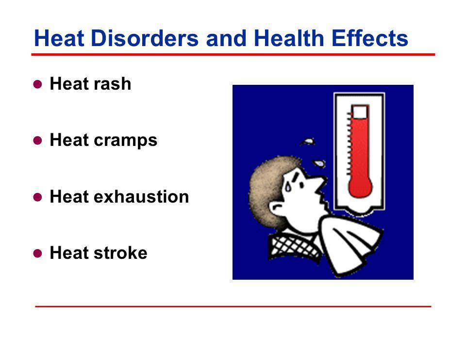 Heat Disorders and Health Effects Heat rash Heat cramps Heat exhaustion Heat stroke