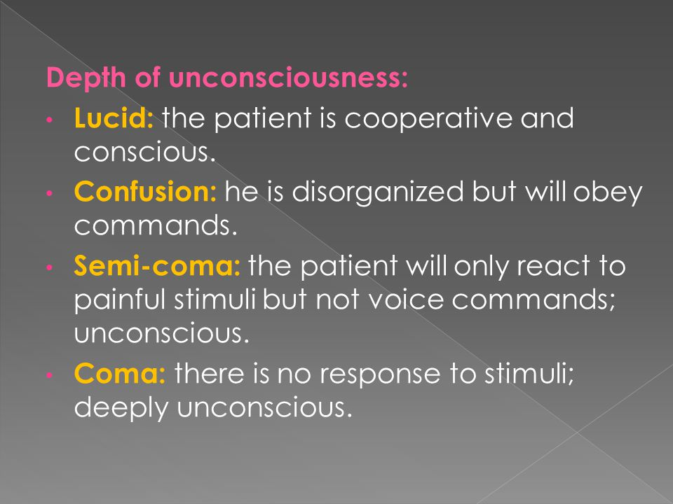 Depth of unconsciousness: Lucid: the patient is cooperative and conscious.