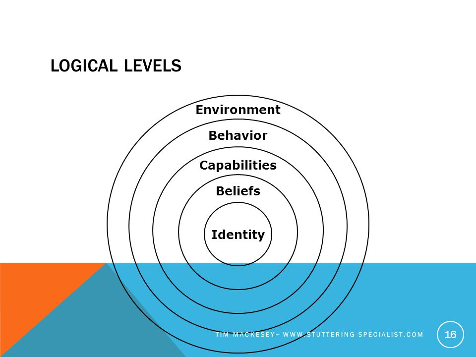 LOGICAL LEVELS Environment Behavior Capabilities Beliefs Identity TIM MACKESEY~ WWW.STUTTERING-SPECIALIST.COM 16