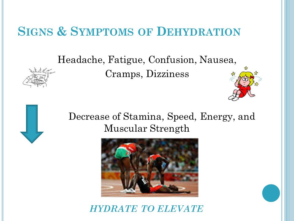 S IGNS & S YMPTOMS OF D EHYDRATION Headache, Fatigue, Confusion, Nausea, Cramps, Dizziness Decrease of Stamina, Speed, Energy, and Muscular Strength HYDRATE TO ELEVATE