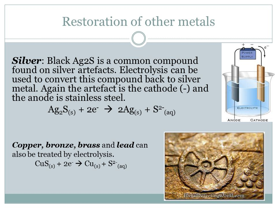 Restoration of other metals Silver: Black Ag2S is a common compound found on silver artefacts.