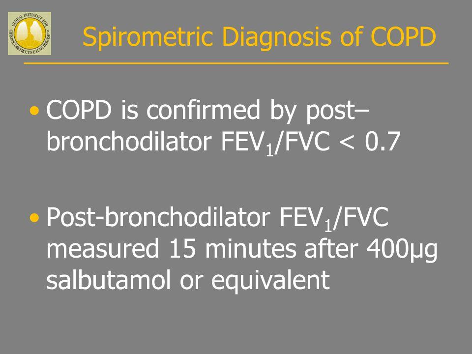 Spirometric Diagnosis of COPD COPD is confirmed by post– bronchodilator FEV 1 /FVC < 0.7 Post-bronchodilator FEV 1 /FVC measured 15 minutes after 400µ