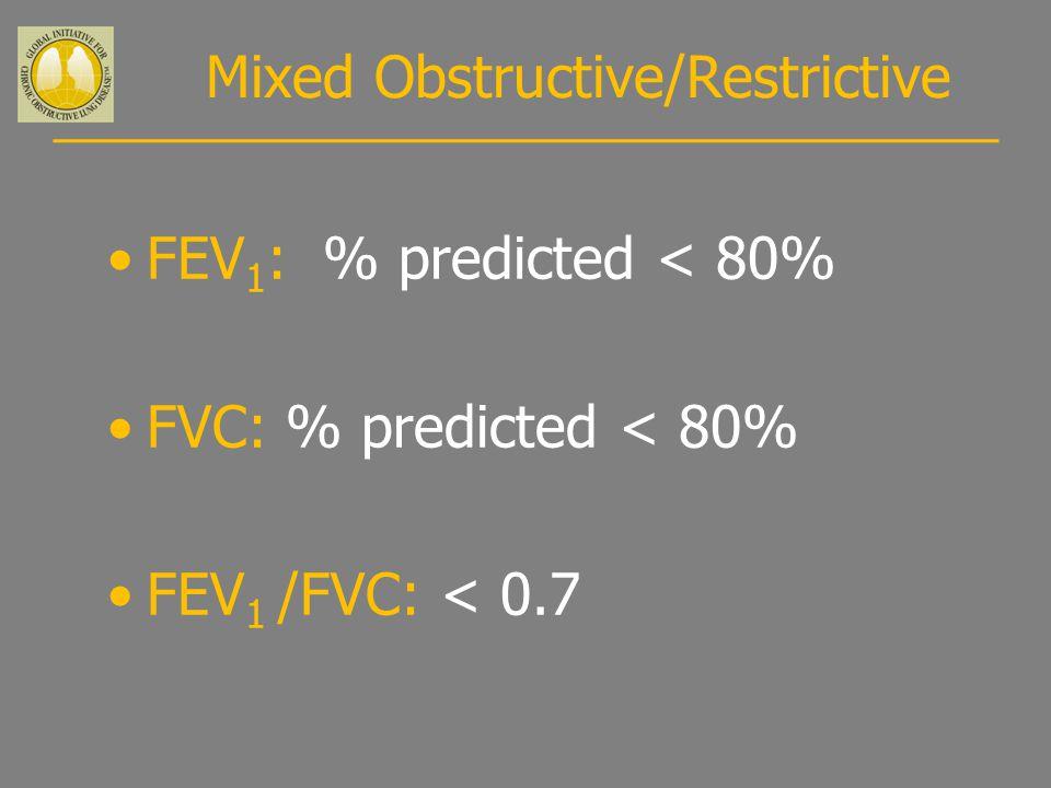 Mixed Obstructive/Restrictive FEV 1 : % predicted < 80% FVC: % predicted < 80% FEV 1 /FVC: < 0.7