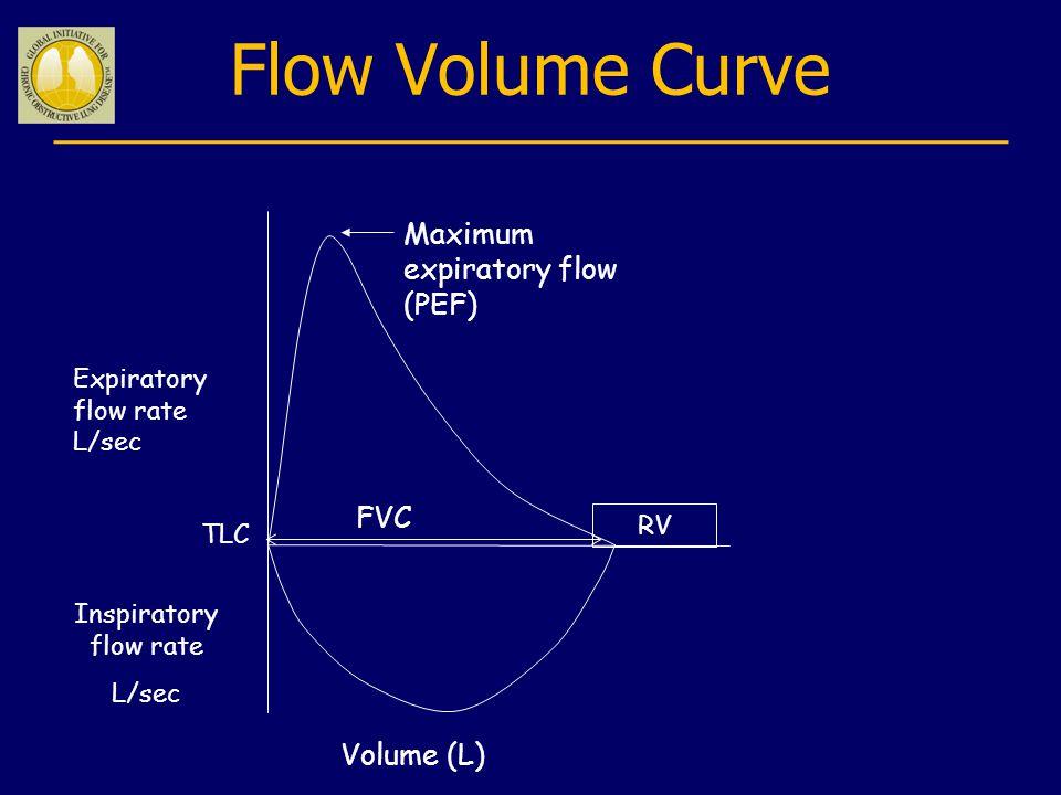 Flow Volume Curve Expiratory flow rate L/sec Volume (L) FVC Maximum expiratory flow (PEF) Inspiratory flow rate L/sec RV TLC
