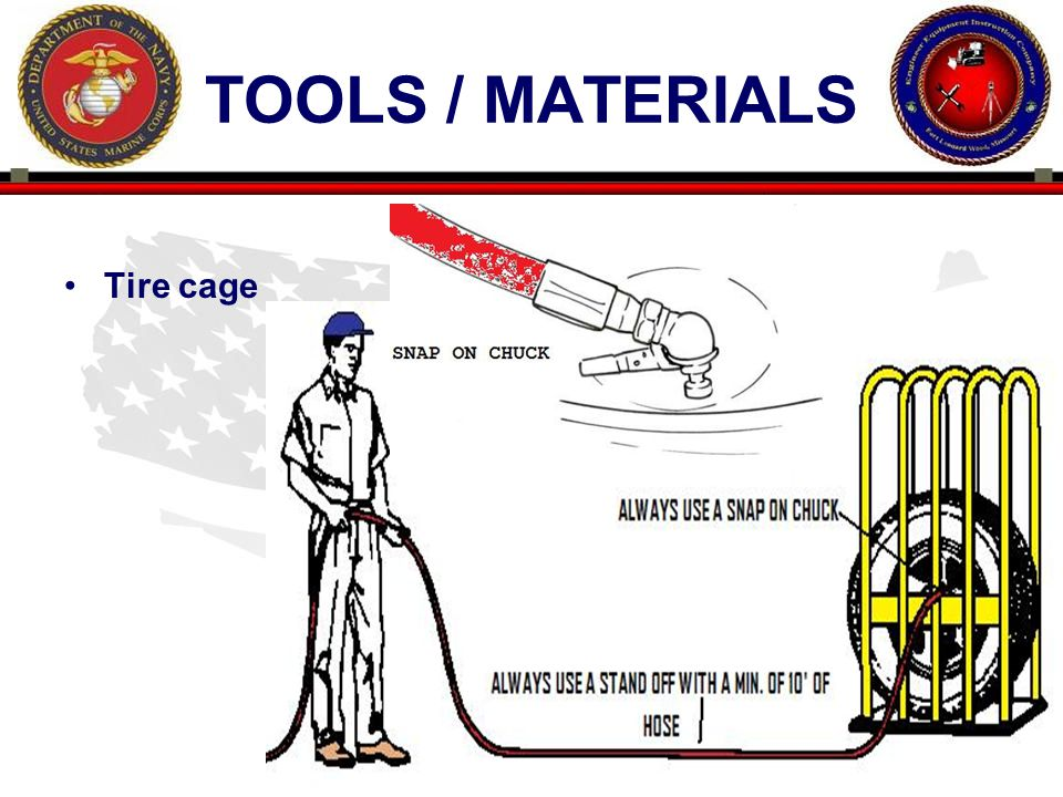 23 ENGINEER EQUIPMENT INSTRUCTION COMPANY TOOLS / MATERIALS Tire cage