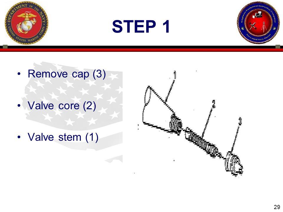 29 ENGINEER EQUIPMENT INSTRUCTION COMPANY STEP 1 Remove cap (3) Valve core (2) Valve stem (1)