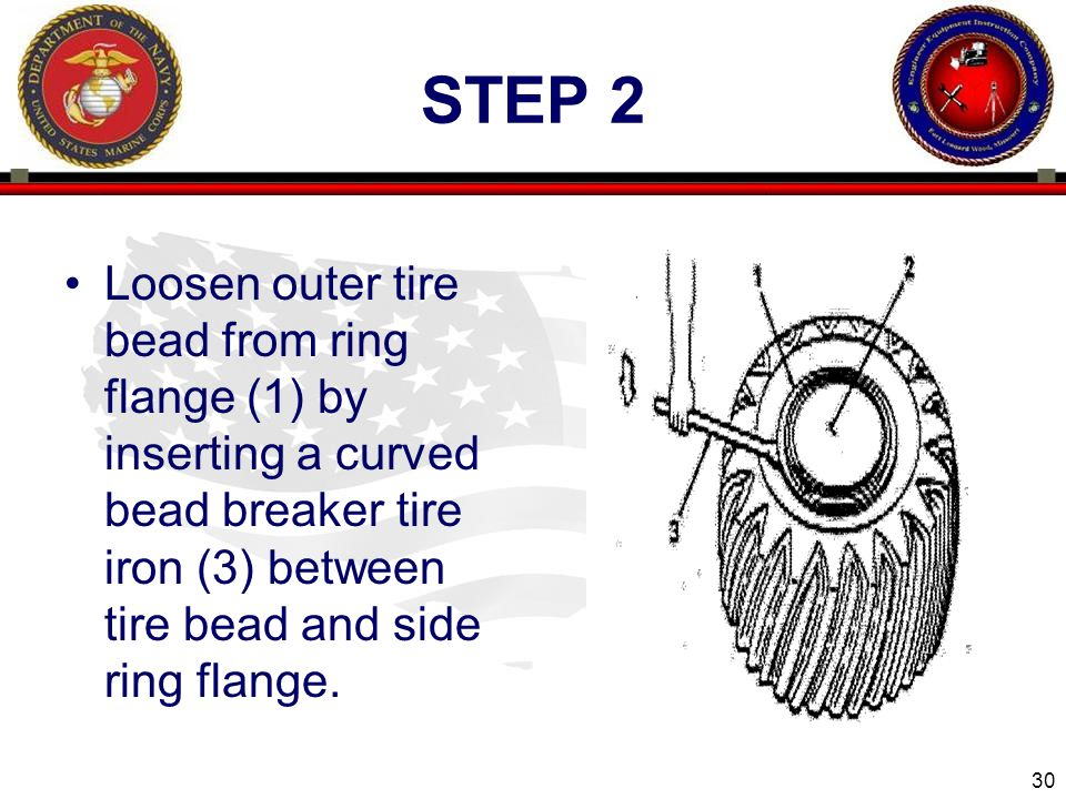 30 ENGINEER EQUIPMENT INSTRUCTION COMPANY STEP 2 Loosen outer tire bead from ring flange (1) by inserting a curved bead breaker tire iron (3) between tire bead and side ring flange.