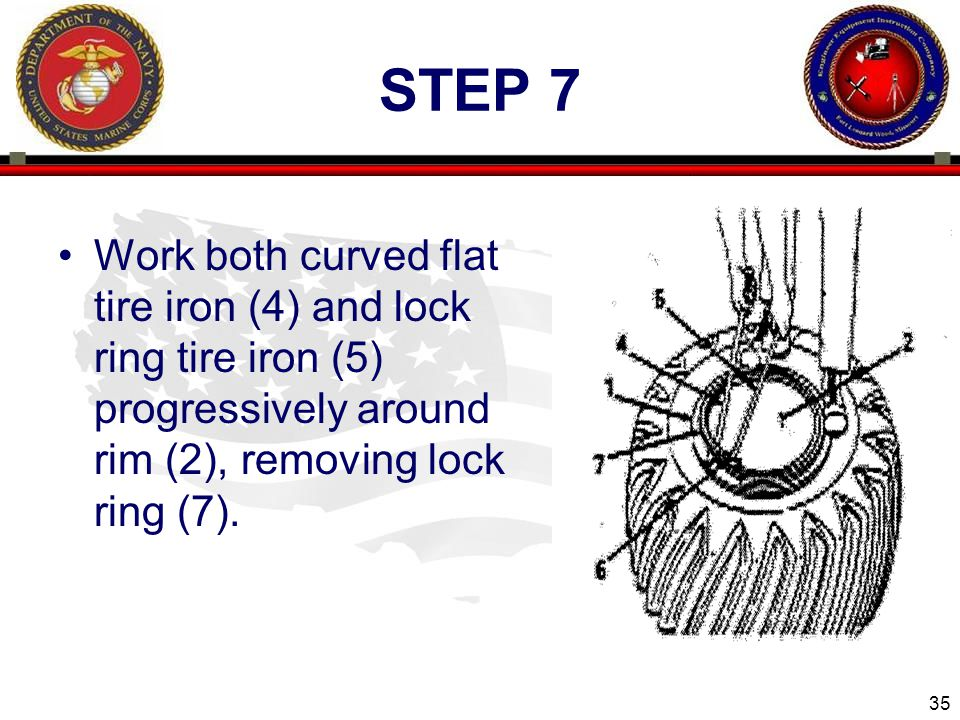 35 ENGINEER EQUIPMENT INSTRUCTION COMPANY STEP 7 Work both curved flat tire iron (4) and lock ring tire iron (5) progressively around rim (2), removing lock ring (7).
