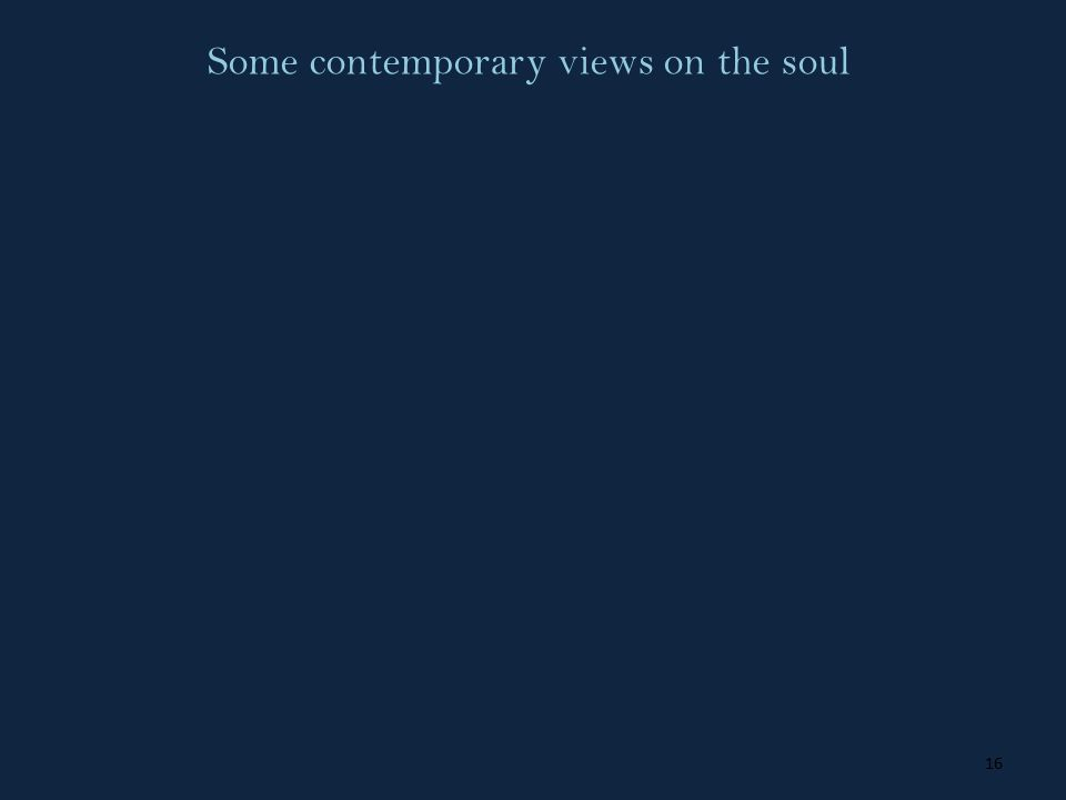 16 Some contemporary views on the soul