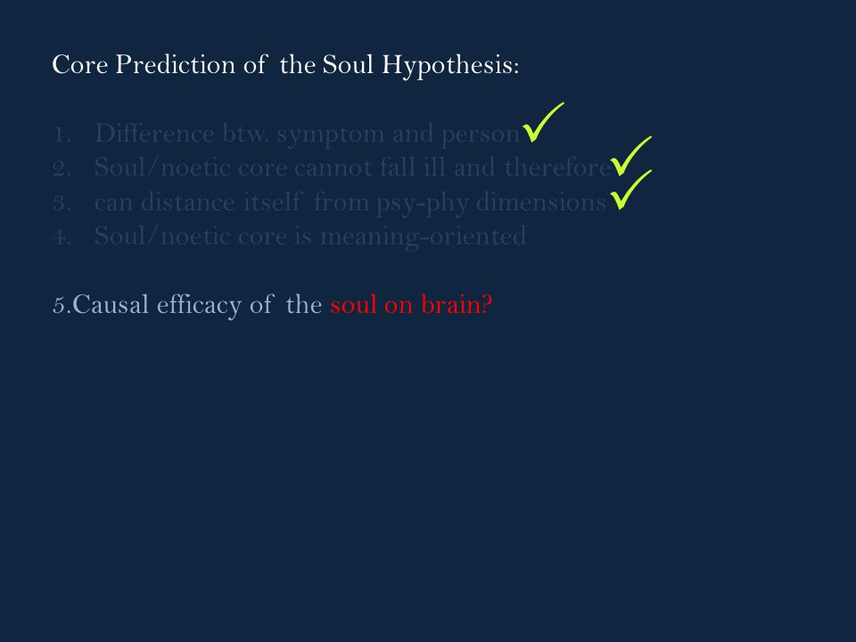 Core Prediction of the Soul Hypothesis: 1.Difference btw.