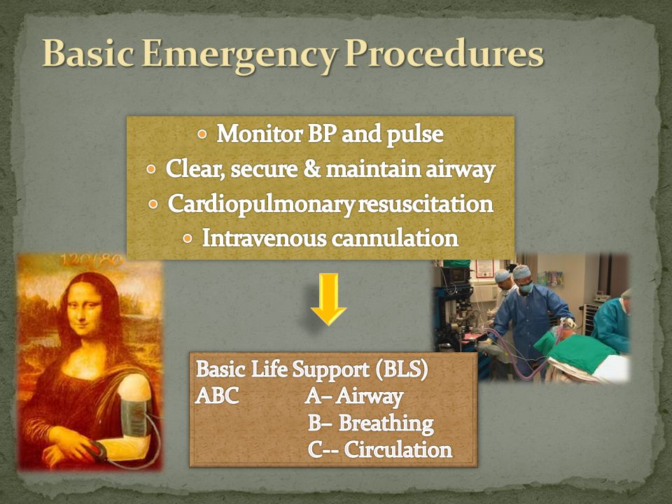Loss of consciousness Absence of arterial pulse SUMMON HELP Patient on flat, firm surface CLEAR AIRWAY (keep patent) Start CPR Defibrillation Transfer patient to hospital