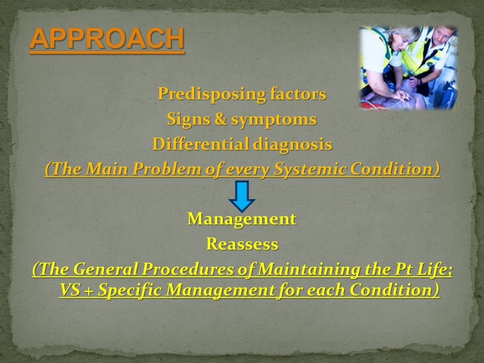 Predisposing factors Signs & symptoms Differential diagnosis (The Main Problem of every Systemic Condition) ManagementReassess (The General Procedures of Maintaining the Pt Life; VS + Specific Management for each Condition)