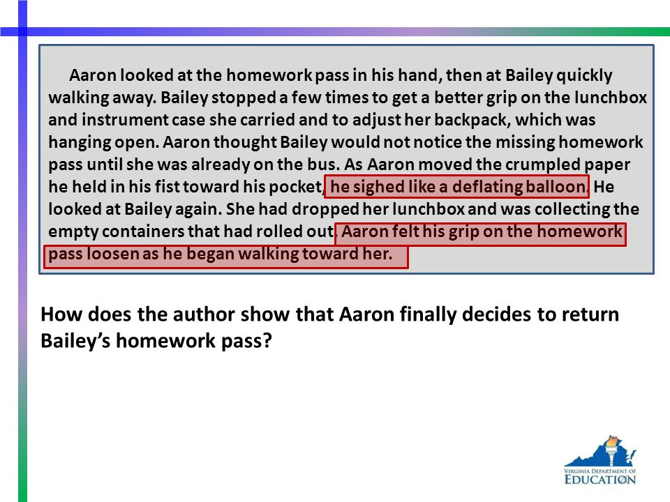 Aaron looked at the homework pass in his hand, then at Bailey quickly walking away.