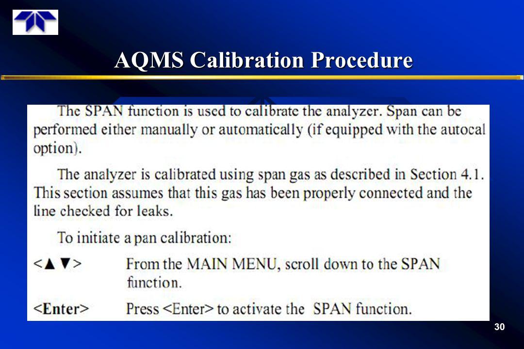 AQMS Calibration Procedure 30