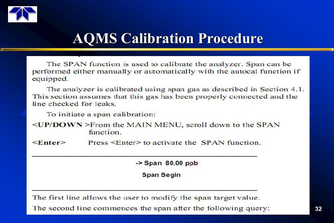 AQMS Calibration Procedure 32