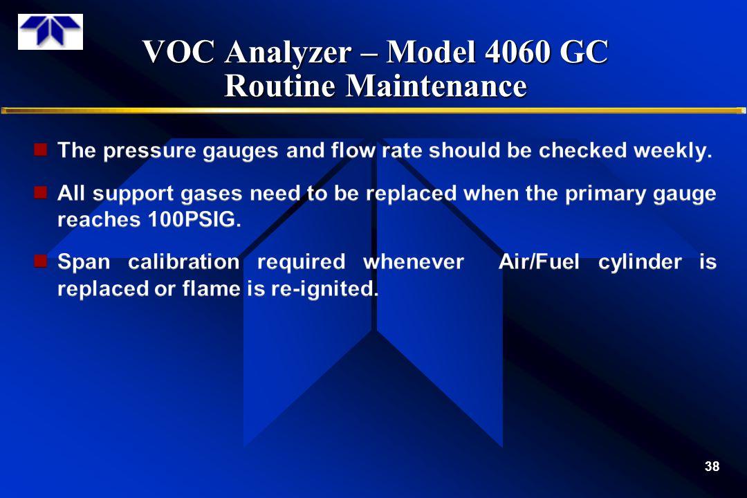 VOC Analyzer – Model 4060 GC Routine Maintenance 38